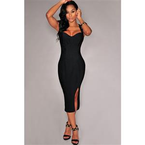 Sexy Black Split-side Clubwear Dress N10851