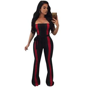 Sexy Sleeveless Strapless Jumpsuit, Black Slim Fit Bellbottoms Jumpsuit, Bodycon Elastic Bellbottoms Jumpsuit, Sleeveless High Waist Bellbottoms Jumpsuit, Fashion Stripe Bellbottoms Jumpsuit for Women, #N16297