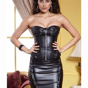 Sexy Black Strapless Faux Leather Zipper Overbust Corset with Underwire Cups N10250