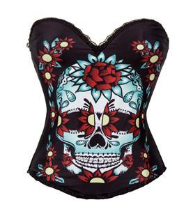 Sexy Black Sugar Skull Halloween Costume Corset N11203
