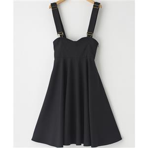 Fashion Suspender Skirt, Sexy Black Suspender Skater Skirt, #N12180