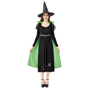 Black Vintage Witch Costume, Vintage Witch Halloween Party Dress, Sexy Black Witch Costume, Fashion Black Witch Womens Costume, #N19432