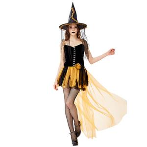 Black Vintage Witch Costume, Vintage Witch Halloween Party Dress, Sexy Black Witch Costume, Fashion Black Witch Womens Costume, #N19433
