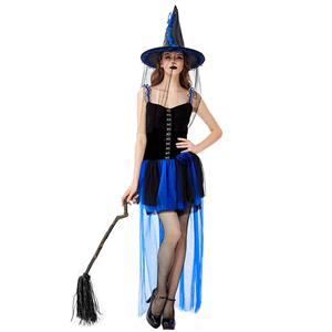 Black Vintage Witch Costume, Vintage Witch Halloween Party Dress, Sexy Black Witch Costume, Fashion Black Witch Womens Costume, #N19440
