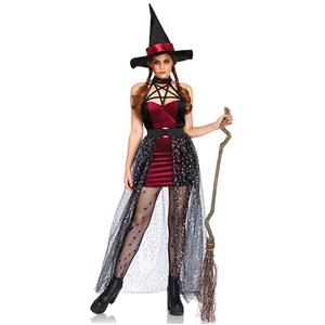 Sexy Black and Red Evil Witch Adult Halloween Cosplay Costume N17943