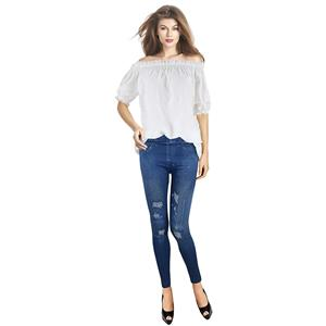 Chic White Blouse&Denim look Pant Set N12715