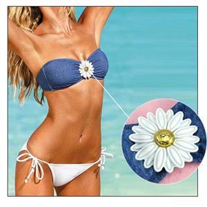 Sexy Blue Denim Strapless with Flower Trim Bikini Set BK10283