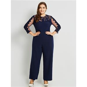 Long Sleeve Blue Jumpsuit, Sexy Jumpsuit for Women, Full Length Jumpsuit, Plus Size Jumpsuit for Women, Round Neck Blue Mesh Jumpsuit, #N15771