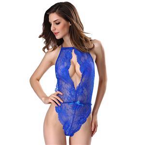 Sleepwear Bodysuit for Women, Sexy Bodysuit Teddy Lingerie Blue, Cheap Lace Babysuit Lingerie, Floral Lace Babysuit Lingerie, Blue Teddy lingerie for women, Teddy Lingerie Cutout, #N16504