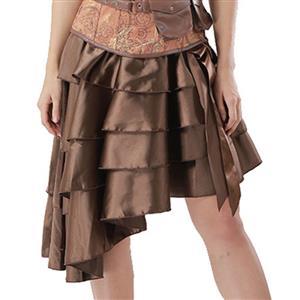 Sexy Brown Satin High-low Ruffles Dancing Party Skirt N14440