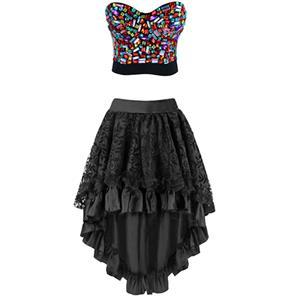 Sexy Burlesque  Bra Top and Skirt Set, Women