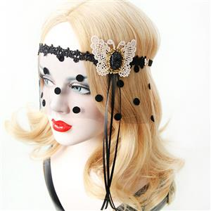Halloween Masks, Costume Ball Masks, Black Lace Mask, Masquerade Party Mask, Punk Black Mask, Cosplay Face Veil, #MS13026