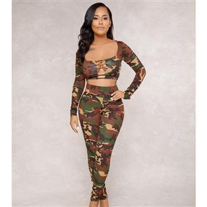 Casual Camouflage Sport Suit, Long Sleeve Hollow Out Crop Top Suit, Crop Top Tights Long Pants Suit, Tight Hollow Out Crop Top Pants Suit, Fashion Camouflage Pants Suit for Women, #N16291