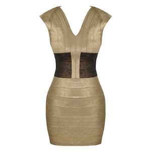 Cap Sleeve Dress, Deep V Neck Dress, Sexy Bodycon Dress, Bodycon Bandage Dress, Sexy Party Dresses for Women, Gold Dress, Package Hip Dress, Back Zipper Dress, #N15645