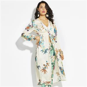Fashion Long Print Coat for Women, Long Sleeve Floral Print Coat, Beige Ruffled Print Long Coat, Women