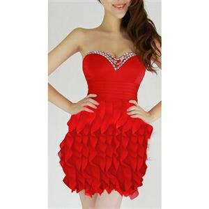 Sexy Club Dancing Ruffle Dress, Ruffle Dress, Red Ruffle party Dress, #N6926