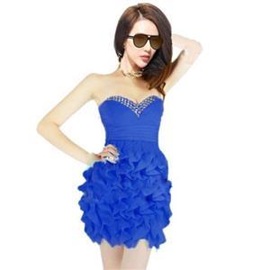 Sexy Club Dancing Ruffle Dress, Ruffle Dress, Blue Ruffle party Dress, #N7485