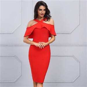 Sexy Dress for Women, Fashion Midi Dresses, Bodycon Party Dress, Cold Shoulder Bodycon Dress, Falbala Party Dresses, Red Bodycon Bandage Dress, #N15248