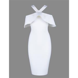 Sexy Dress for Women, Fashion Midi Dresses, Bodycon Party Dress, Cold Shoulder Bodycon Dress, Falbala Party Dresses, White Bodycon Bandage Dress, #N15251