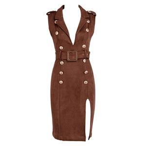 Bodycon Dress For Women, Sexy Dresses For Women, Fashion Bodycon Dresses, Bodycon Party Dress, Brown Office Dress, Sleeveless Brown Dresses, DeeP V Dresses, #N15218