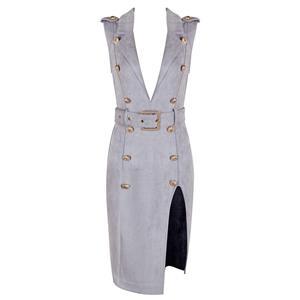 Bodycon Dress For Women, Sexy Dresses For Women, Fashion Bodycon Dresses, Bodycon Party Dress, Gray Office Dress, Sleeveless Brown Dresses, Deep V Dresses, #N15219