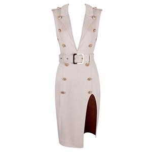 Bodycon Dress For Women, Sexy Dresses For Women, Fashion Bodycon Dresses, Bodycon Party Dress, Beige Office Dress, Sleeveless Brown Dresses, Deep V Dresses, #N15221