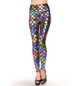Sexy Colorful Fish Scale Pattern High Waist Leggings L10259