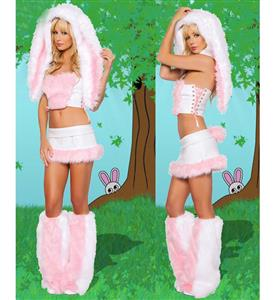 Super Luxury Pink Floppy Eared Bunny Rabbit Halloween Costume N9620