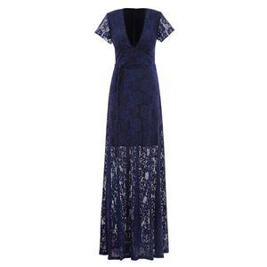 Short Sleeve Deep V Neck Evening Gowns, Sexy Dark Blue Lace Maxi Evening Dress, A-Line Long Evening Dress with Belt, Women