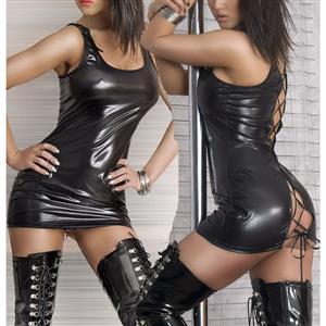 Gothic Wetlook Danger Dress, Faux Leather Pole Dance Costume, Black Lace Up Open Back Dress, #N8514