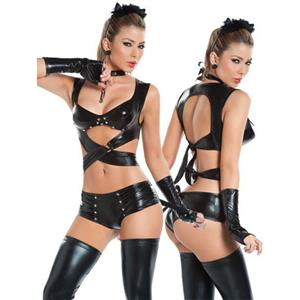 Sexy Dark Cat Danger Faux Leather Costume, Dark Cat Pole Dance Costume, Shiny Wet Look Pant Set, #N8513