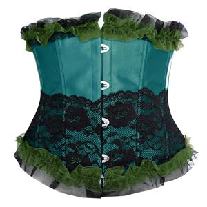 Fashion Dark-Green Underbust Corset, Cheap Women