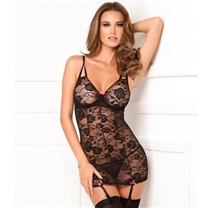 See-through Mesh Chemise Lingerie, Sexy Black Spaghetti Straps Chemise Lingerie, Spaghetti Straps V Neck Chemise Lingerie, Sexy Sheer Lace Chemise Lingerie for Women, Deep V Neck See-through Chemise Lingerie, Spaghetti Straps Lace Chemise Lingerie, #N18734