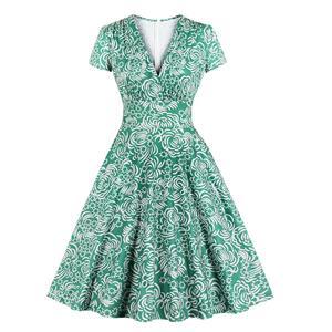Sexy Deep-V Green Daisy Printing Short Sleeve Slim Waist Cocktail Party Swing Dress N19407