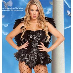 Halloween Costume, Cheap Dark-Angel Costume, Evil Angel Costume, Naughty Angel Costume, #N10880