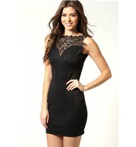 Elegant Dress with Crochet, Sleeveless Embroidered Casual Dress, Black Crochet bodycon Dress, #N7594