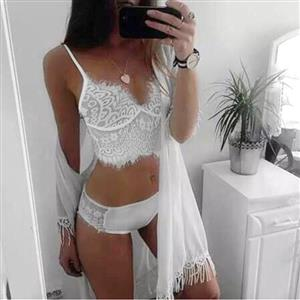 Sexy White Eyelash Trim Floral Lace Crop Top and Panty Lingerie Set N17672
