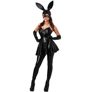 Sexy Bunny Girl Cosplay Costume, Black Faux Leather Rabbit Outfit, Fashion Bunny Girl Faux Leather Dress, Strapless Low Cut Black Mini Dress, Tight Black Faux Leather Pants, Classical Bunny Girl Suit, #N16126