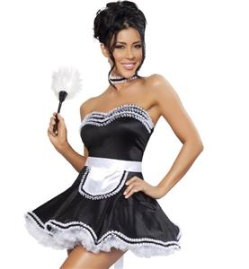 Maid Fifi Costume, Sexy Housekeeper Costume, Black and White Maid French Costume, #N8542