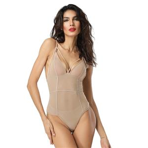Sleepwear for Women, Sexy Bodysuit, Cheap Romper Lingerie, Strappy Mesh Lingerie, FleshTeddy lingerie for women, Teddy Lingerie Cutout,  #N14489