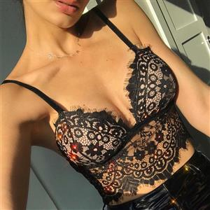 Sexy See-through Black Floral Lace Spaghetti Strap Crop Top Bra Club Lingerie N19376