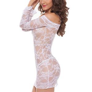 Sexy Lace Sleepdress for Women, Sexy Lace Chemise, Cheap Chemise Lingerie, Sexy Lingerie Dress for Women, Floral Lace Off Shoulder Chemise Lingerie,Off Shoulder One-piece Nightdress, #N21293