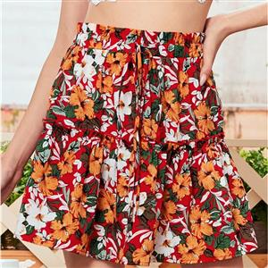 Floral Print Casual Mini Skirt, Beach Short Skirt, Cute Floral Print Skirt, Mini Skater Skirt With Drawstring, Girl