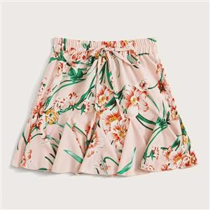 Floral Print Casual Mini Skirt, Fashion Short Skirt, Cute Floral Print Skirt, Mini One-step Skirt With Drawstring, Girl