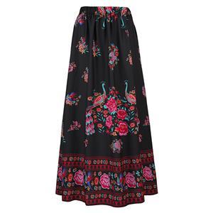 Ankle Length Long Maxi  Skirt, Long Beach Maxi Skirt, Floral Print Party Casual Maxi  Skirt ,  Maxi  Skirt  for Women Casual, Summer Beach Maxi  Skirt, #N14107