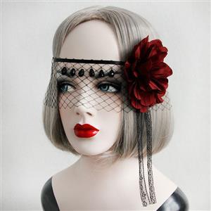 Halloween Masks, Costume Ball Masks, Black Lace Mask, Masquerade Party Mask, Punk Black Mask, Cosplay Face Veil, #MS13023