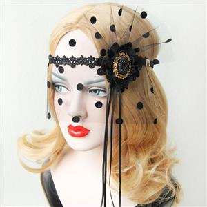 Halloween Masks, Costume Ball Masks, Black Lace Mask, Masquerade Party Mask, Punk Black Mask, Cosplay Face Veil, #MS13024
