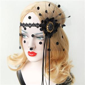 Halloween Masks, Costume Ball Masks, Black Lace Mask, Masquerade Party Mask, Punk Black Mask, Cosplay Face Veil, #MS13024