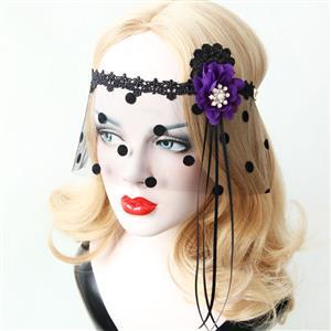 Halloween Masks, Costume Ball Masks, Black Lace Mask, Masquerade Party Mask, Punk Black Mask, Cosplay Face Veil, #MS13025