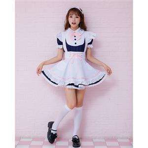 4pcs Adorable French Maid Ruffle Apron Mini Dress Anime Cosplay Fancy Costume N19466